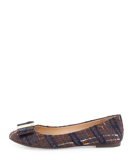 Chase Tweed Bow Ballerina Flat, Blue/Almond Multi