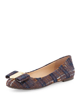 Tory Burch Chase Tweed Bow Ballerina Flat, Blue/Almond Multi