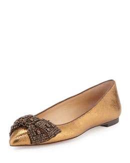 Tory Burch Vanessa Crystal-Bow Flat, Bronze