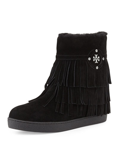 Tory Burch Collins Shearling-Lined Fringe Bootie, Black