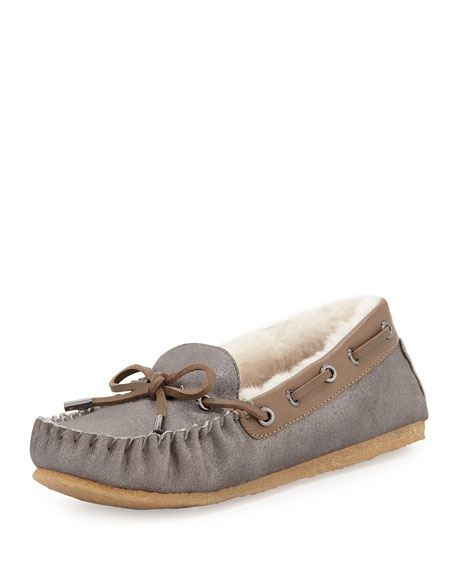 Maxwell Shearling-Lined Moccasin, Pewter