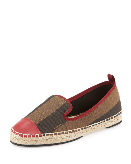 Fendi Pequin Striped Cap-Toe Espadrille Flat