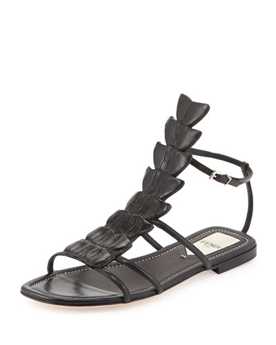 Crocodile Flat Fishbone Sandal