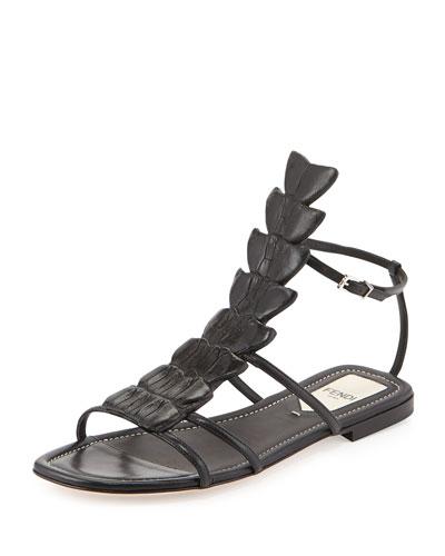 Crocodile Flat Fishbone Sandal