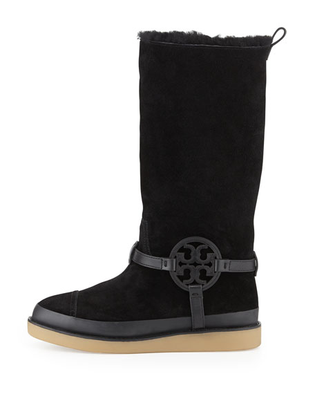 Dana Shearling-Lined Suede Logo Boot, Black