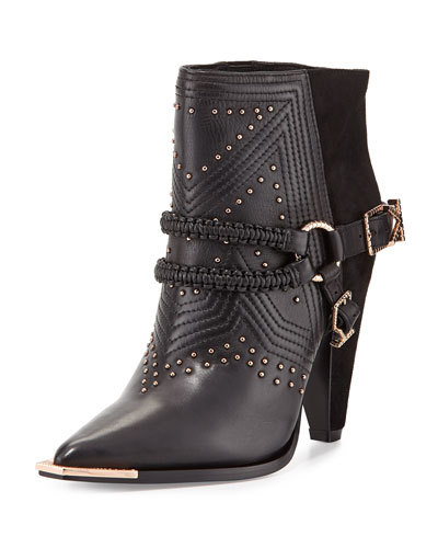 Ivy Kirzhner Spurs Harness Leather Ankle Boot, Black
