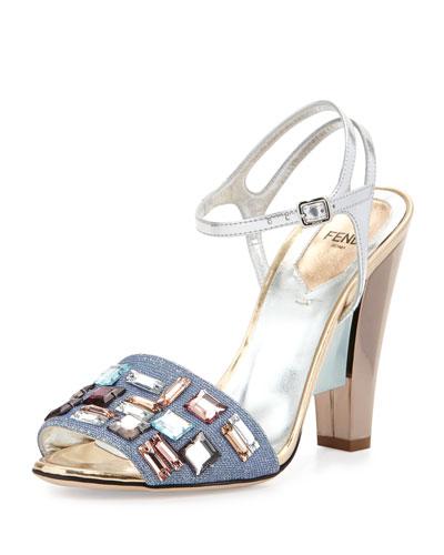 Fendi Mixed-Media Crystal-Trim Sandal