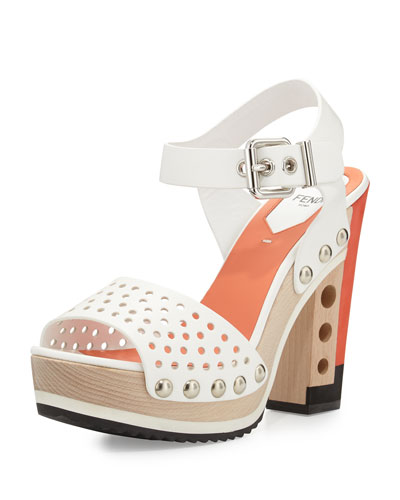 Fendi Chunky Mixed-Media Hole Punch Sandal