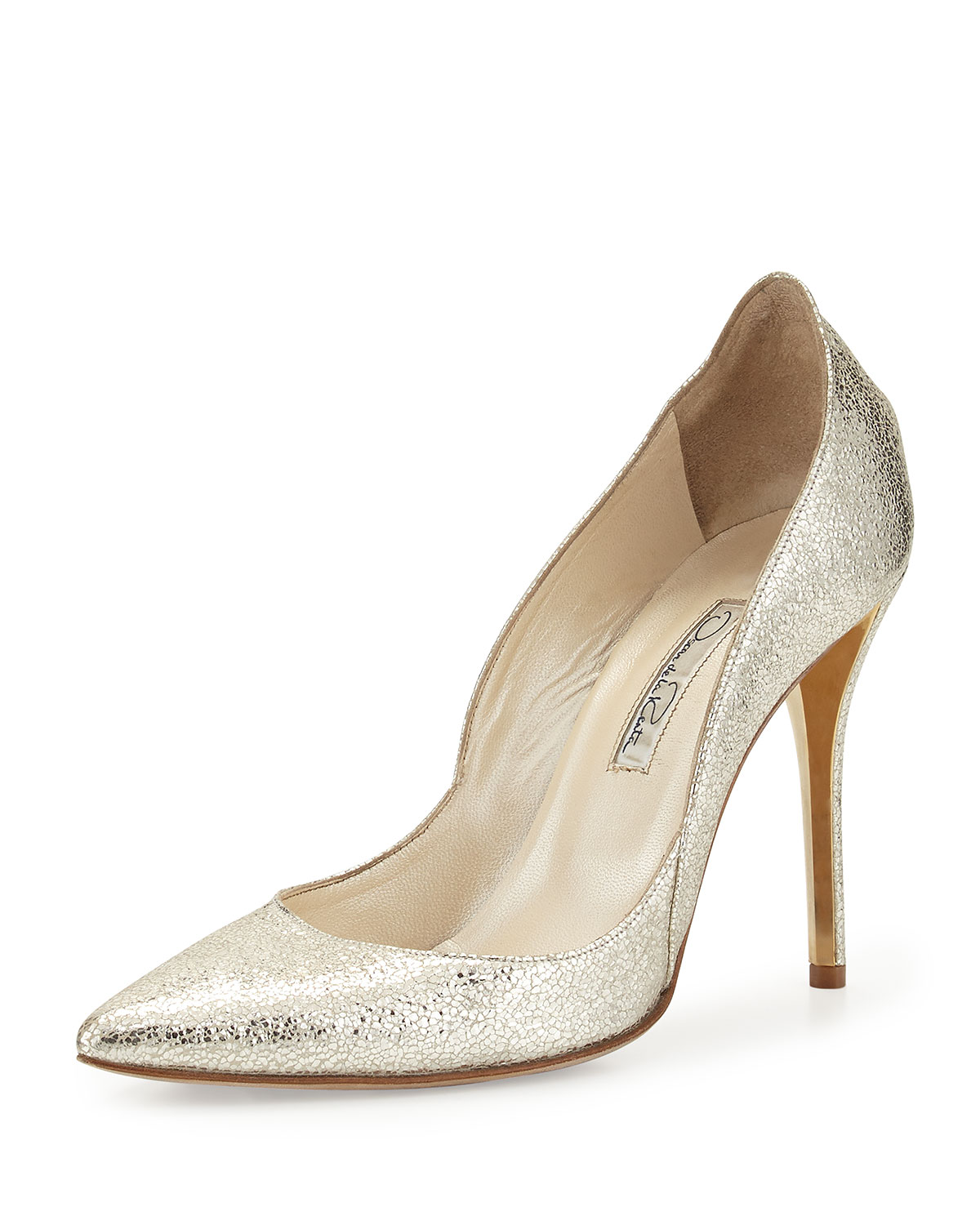 391c5d0fd02a Oscar de la Renta Crinkled Metallic Leather Pump