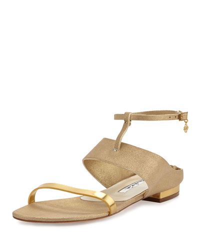 Regina Metallic Ankle-Strap Sandal, Beige