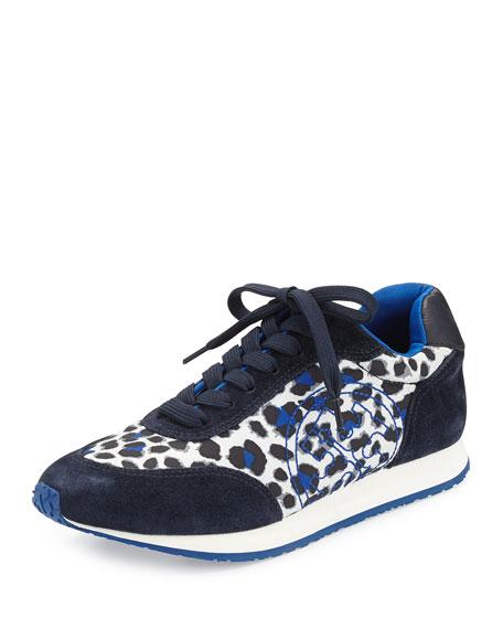 Tory Burch Delancey Leopard-Print Sneaker, Snow Leopard