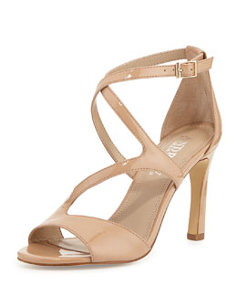 Andrew Stevens Dina Patent Leather Crossover Sandal, Camel