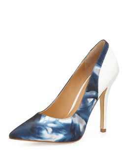 Andrew Stevens Chloe Floral-Satin Stiletto Pump, Blue
