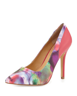 Andrew Stevens Chloe Watercolor-Print Pointy-Toe Pump, Fuchsia