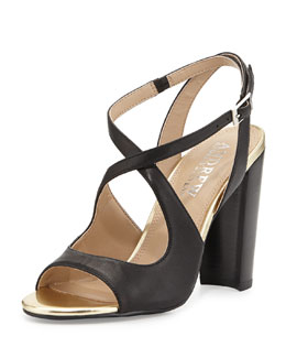 Andrew Stevens Sandy Two-Tone Crisscross Sandals, Black
