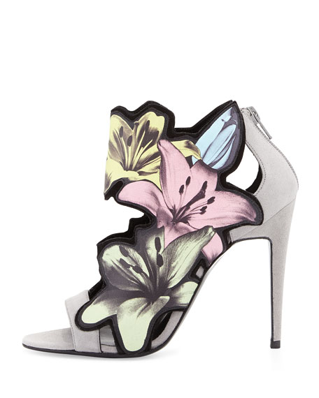 Lilly Floral-Cutout Bootie, Pastel Multi