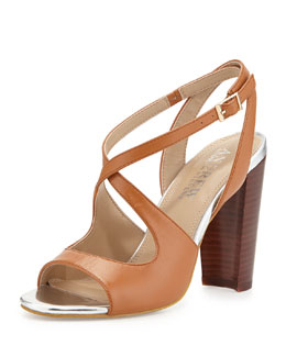 Andrew Stevens Sandy Two-Tone Crisscross Sandals, Cognac