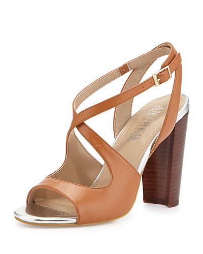 Andrew Stevens Sandy Two-Tone Crisscross Sandals, Cognac