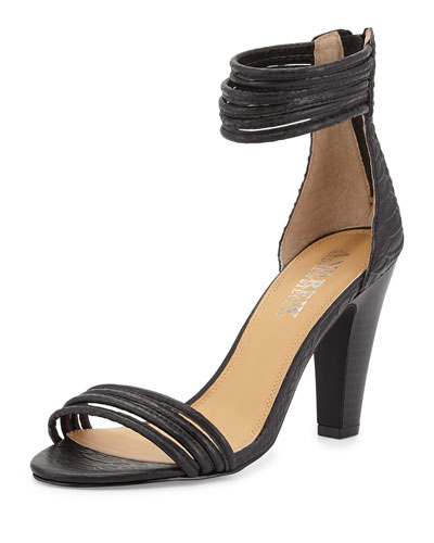 Andrew Stevens Alexis Croc-Embossed Strappy Ankle-Wrap Sandal, Black