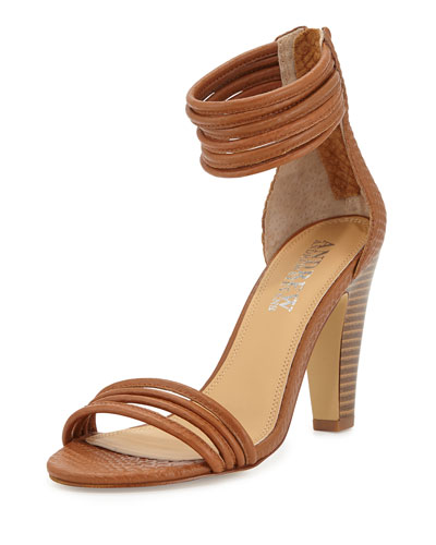 Andrew Stevens Alexis Croc-Embossed Strappy Ankle-Wrap Sandal, Ginger