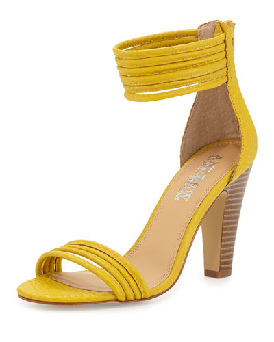 Andrew Stevens Alexis Croc-Embossed Strappy Ankle-Wrap Sandal, Yellow