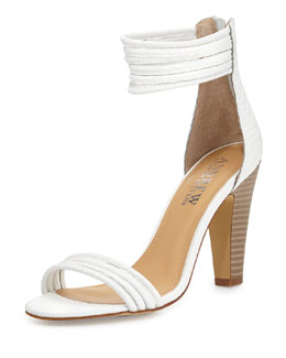 Andrew Stevens Alexis Croc-Embossed Strappy Ankle-Wrap Sandal, White