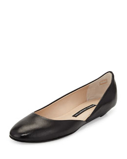 French Connection Asia Leather Round-Toe Flat, Black