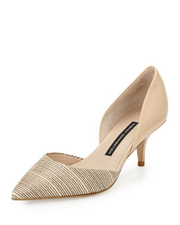 French Connection Effie Striped Leather d'Orsay Pump, Tan/White