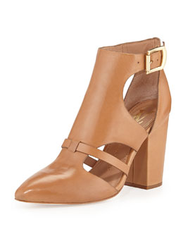 VC Signature Velmah Point-Toe Leather Bootie, Camel