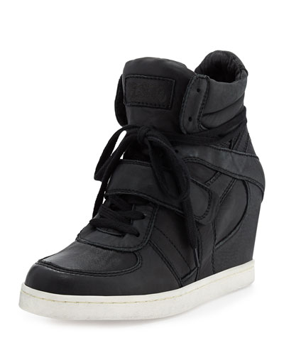 Ash Cool Ter Nappa Leather Wedge Sneaker, Black