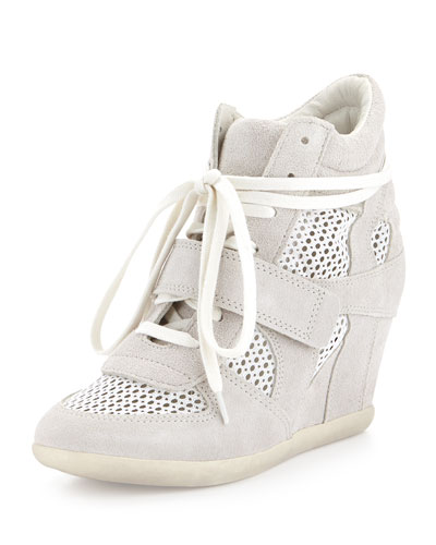 Ash Bowie Mesh/Suede Sneaker Wedge, Off-White