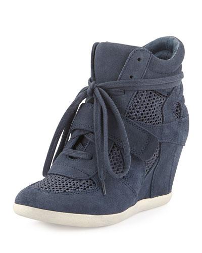 Ash Bowie Mesh/Suede Sneaker Wedge, Navy