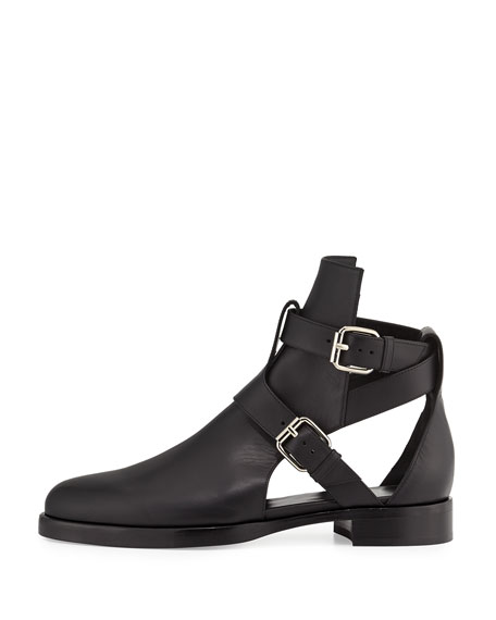 Double-Buckle Open Leather Boot, Black