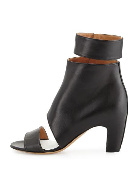Cutout Leather Ankle-Wrap Bootie, Black