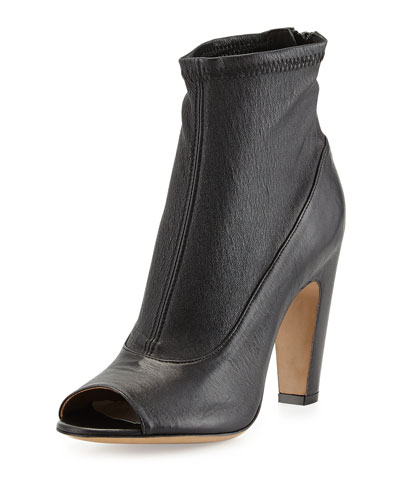 Stretch-Leather Peep-Toe Bootie, Black