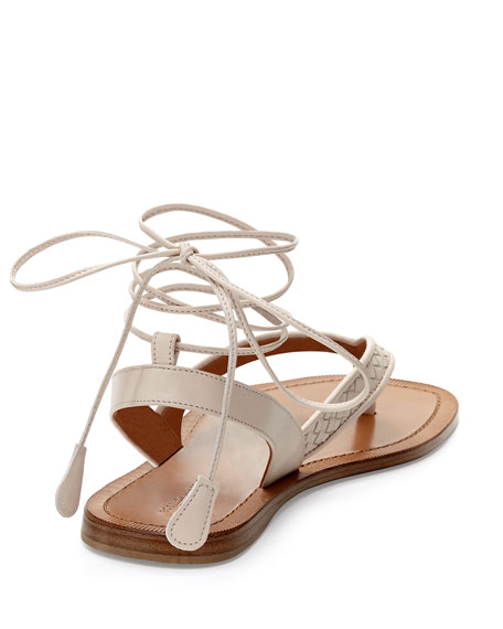 Woven Leather Thong Sandal, Pale