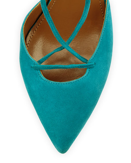 Belgravia Suede Lace-Up Pump, Turquoise