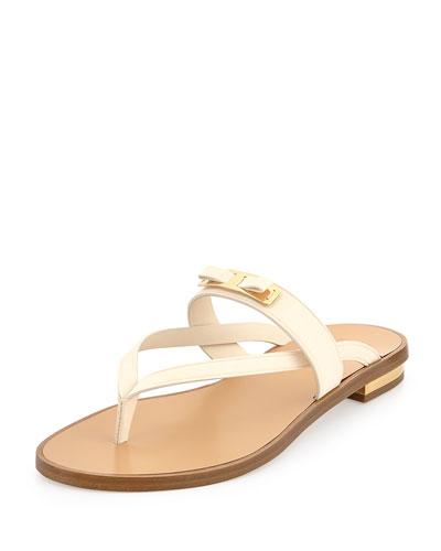 Salvatore Ferragamo Mare T-Strap Bow Sandal, Butter