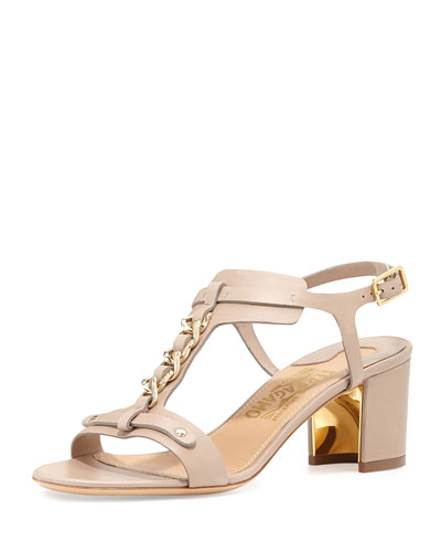 Salvatore Ferragamo Maki Chain T-Strap City Sandal, Greige