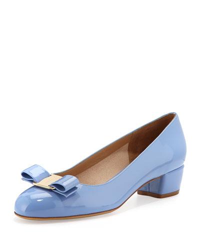 Salvatore Ferragamo Vara Patent Bow Pump, Fleur Blue