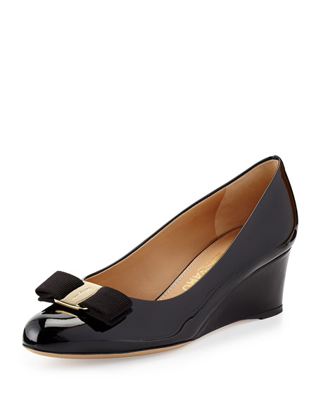 Salvatore Ferragamo Patent Leather Vara Wedges Manchester sale online with credit card SWARuHU