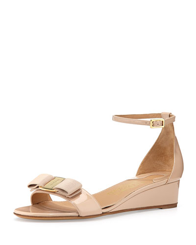 Margot Patent Bow Demi-Wedge, New Bisque