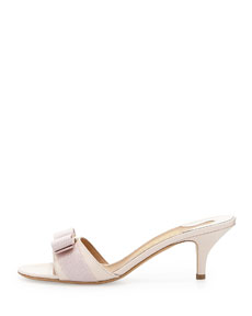 243febf816 Salvatore Ferragamo Glory Patent Bow Slide Sandal, Macaron | Neiman Marcus