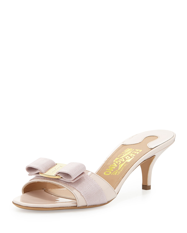 ded653ca97 Salvatore Ferragamo Glory Patent Bow Slide Sandal, Macaron | Neiman ...