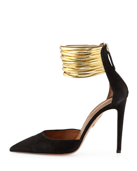Hello Lover Suede Ankle-Strap Pump, Black