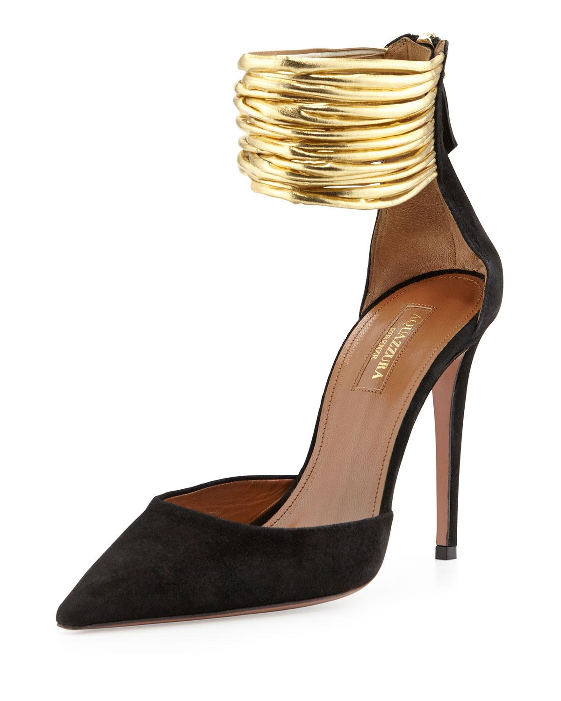 Aquazzura Hello Lover Suede Ankle-Strap Pump, Black | Neiman Marcus