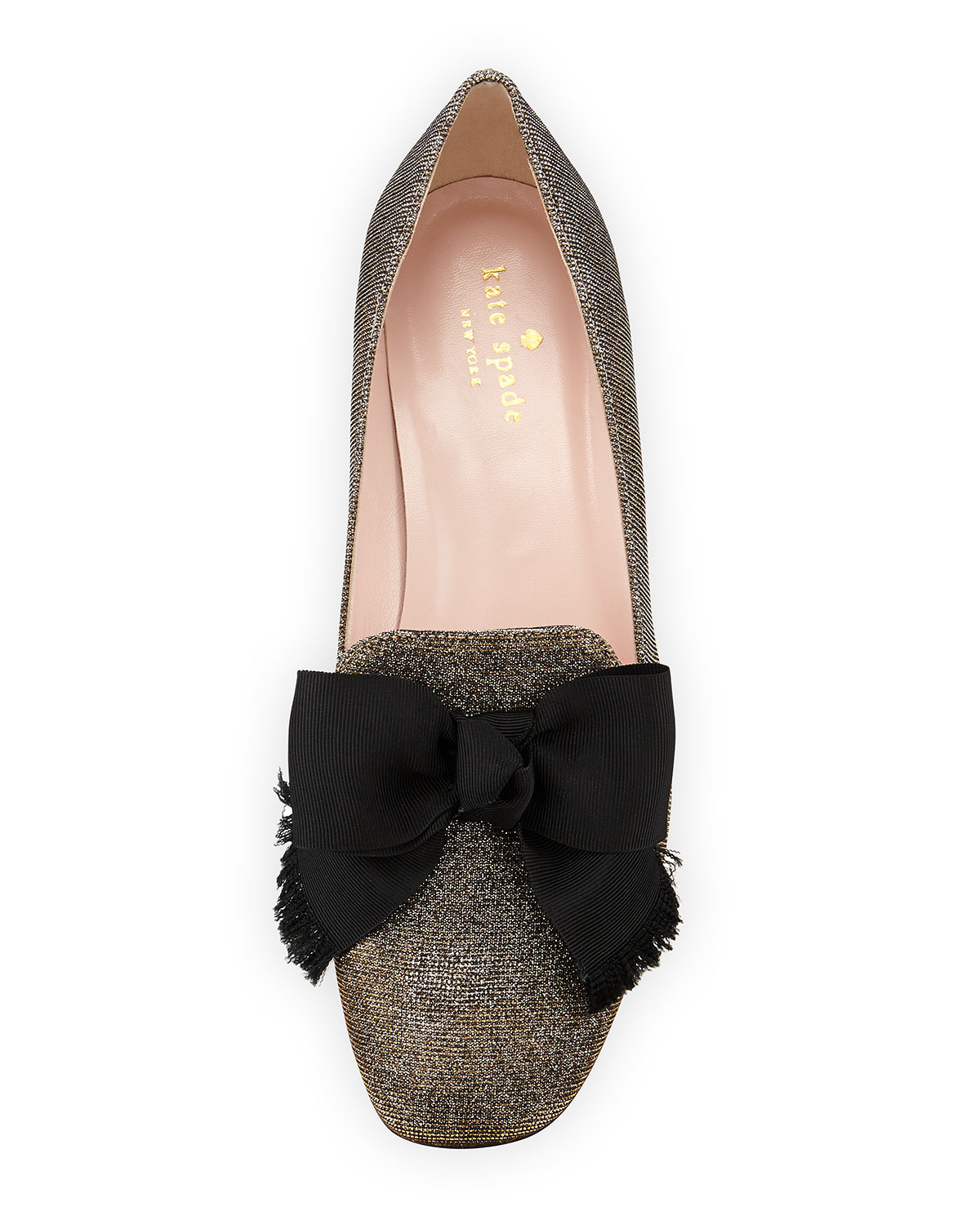 dc243b3ed37d kate spade new york gino glitter bow loafer pump, bronze | Neiman Marcus