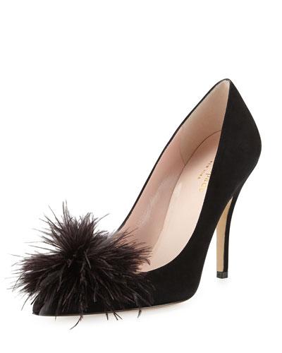 lilo pouf point-toe suede pump, black