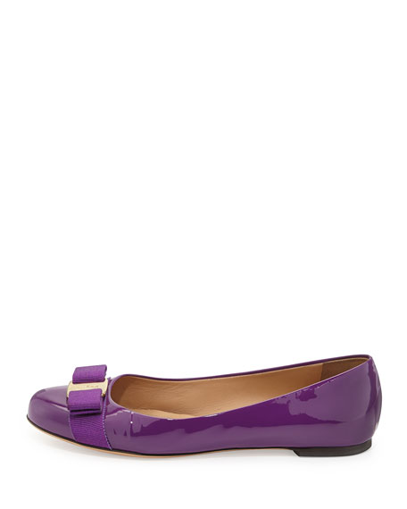 Varina Patent Bow Flat, Grape