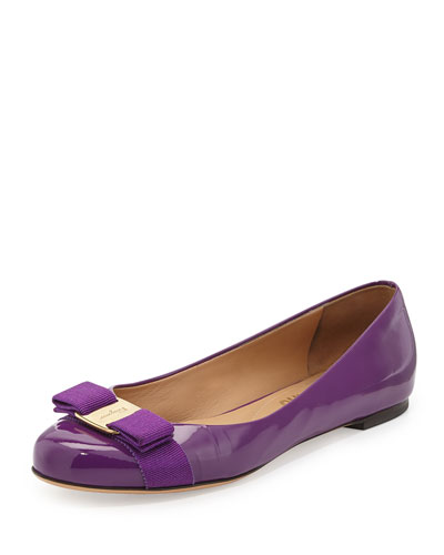 Salvatore Ferragamo Varina Patent Bow Flat, Grape